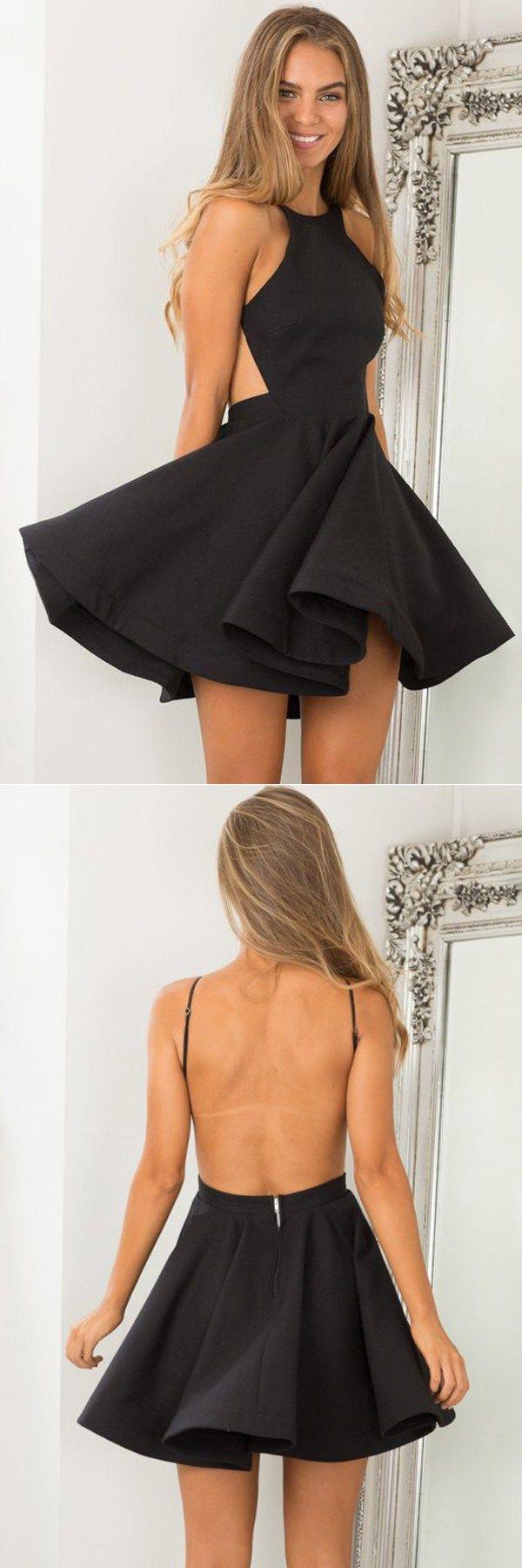 Aline halter backless short black satin homecoming dress semi