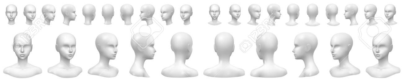 Isolated Vector Set Of Faceless Mannequin Busts And Heads Aff Set Vector Isolated Faceless Heads In 2020 Clever Business Cards Face L Vector