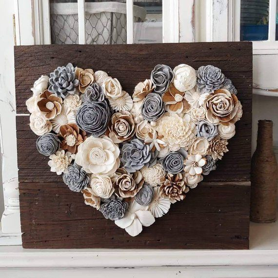 Große neutrale Holzblumen Herzplatte, rustikale Wohnkultur, Sola Holzblumen, Hochzeitsdekorat…