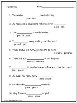 Homonyms and Homophones Worksheets | ESL, Words and Worksheets