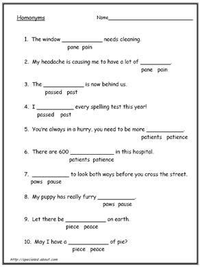 homograph worksheets 5th grade pdf