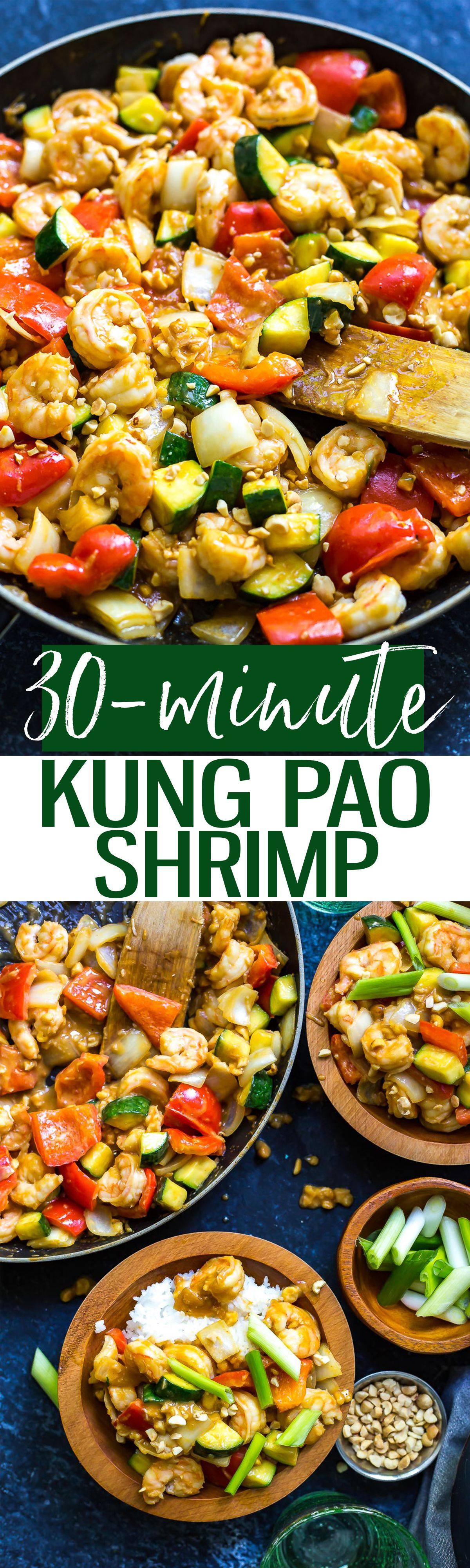 This 30-Minute Kung Pao Shrimp is a delicious quick and easy stir fry that's perfect for getting dinner on the table quickly! Switch up the veggies to use whatever's leftover in your fridge!