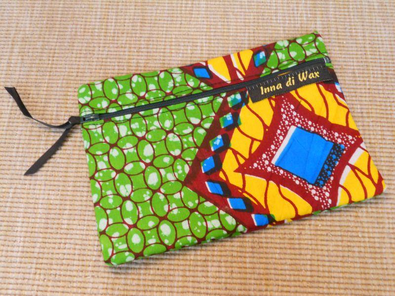 pochette en wax tissu africain 08004 mini sac inna di. Black Bedroom Furniture Sets. Home Design Ideas