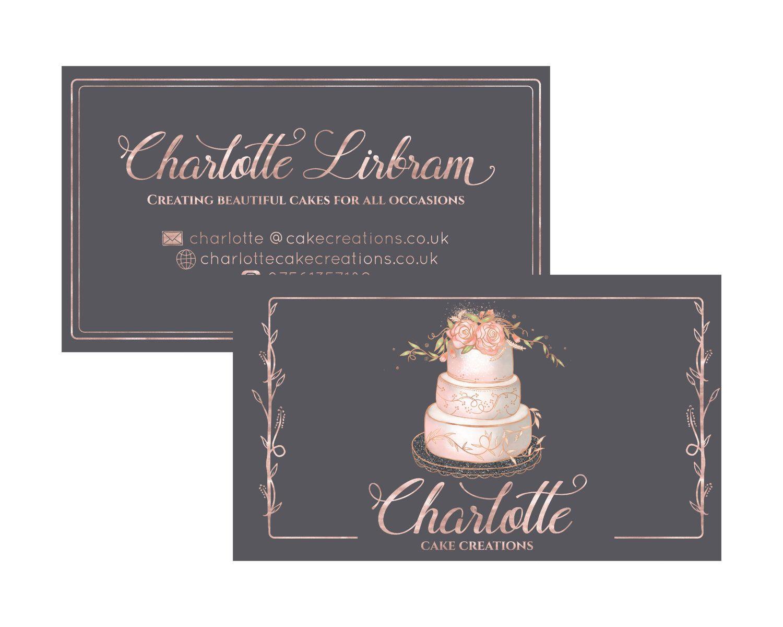 Hand Drawn Business card design. Bakery logo cake business card ...