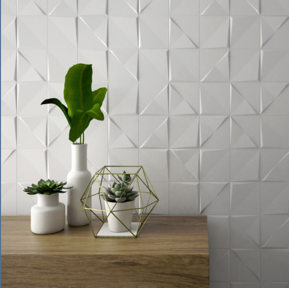 Carrelage mural g om trique relief cuivre blanc for Carrelage hexagonal blanc
