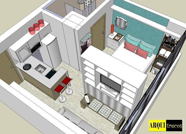 Projeto Arquitrecos Solucoes Para Apartamento De 25 M2 Plantas