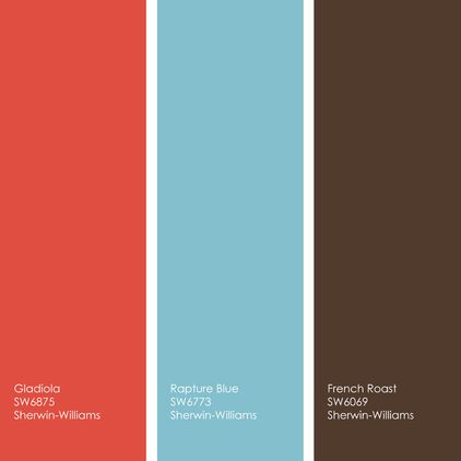 coral, blue and dark brown - living room. would want more of a