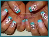 Photo of Blue French & Flowers by RadiD  Nail Art Gallery nailartgallery.na by Nails