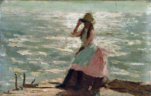 Steer, Philip Wilson (1860-1942) - 1886 Girl Seated on a Pier, Walberswick (Christie's London 2001)