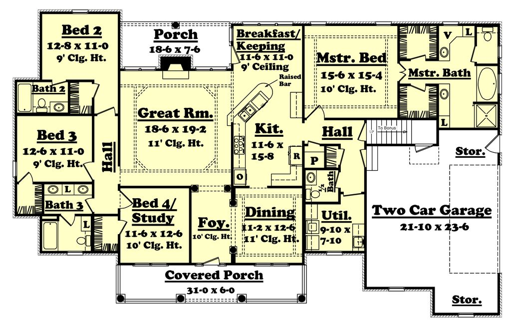 Country style house plan 4 beds 3 5 baths 2500 sq ft for House plans 2500 sq ft