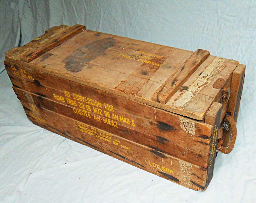 Vintage Wood Ammo Ammunition Box Crate Frag Bomb Parachute Unit