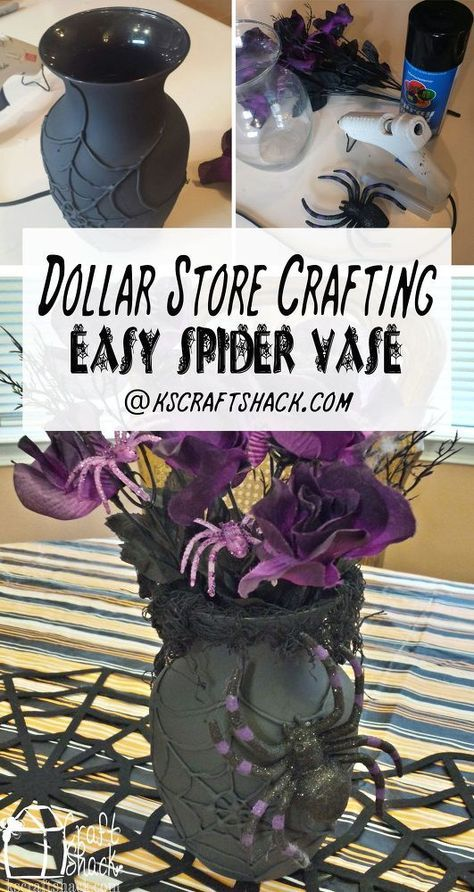 Dollar Store Crafting  Spider Web Vase - Halloween vase, Diy halloween projects, Halloween diy, Diy halloween decorations, Halloween, Halloween spider - While it's definitely still too early to decorate for Halloween, it's not too early to think about any projects you might want to make this year! Thinking a little bit ahead gives me plenty of time to get all the fun stuff made before it's time to actually put things up  Pinterest is abuzz with Halloween lately and this super easy vase has been pinned 5000 times in a month! You need a glass vase (I bought mine at the dollar store), hot glue, flat black spray paint and some fun cree…