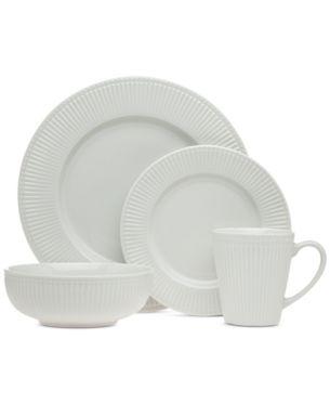 Closeout Godinger Republique 16 Pc White Embossed Dinnerware Set