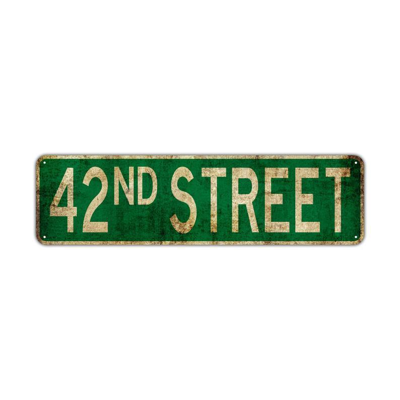42nd St Street Sign Rustic Vintage Retro Metal Decor Wall Shop Etsy Street Signs Custom Street Signs Vinyl Lettering
