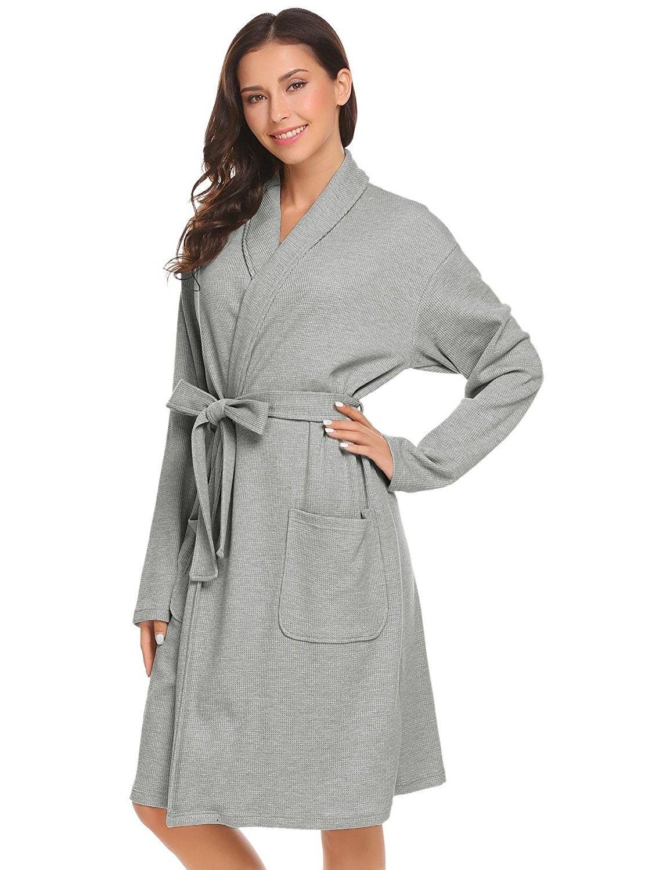Womens Bathrobe Spa Hotel Kimono Cotton Robe Lounge Sleepwear - Grey ... 986a99842