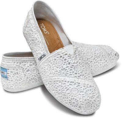 Zapatos de encaje de croché en blanco de TOMS Toms GGFsj9p3