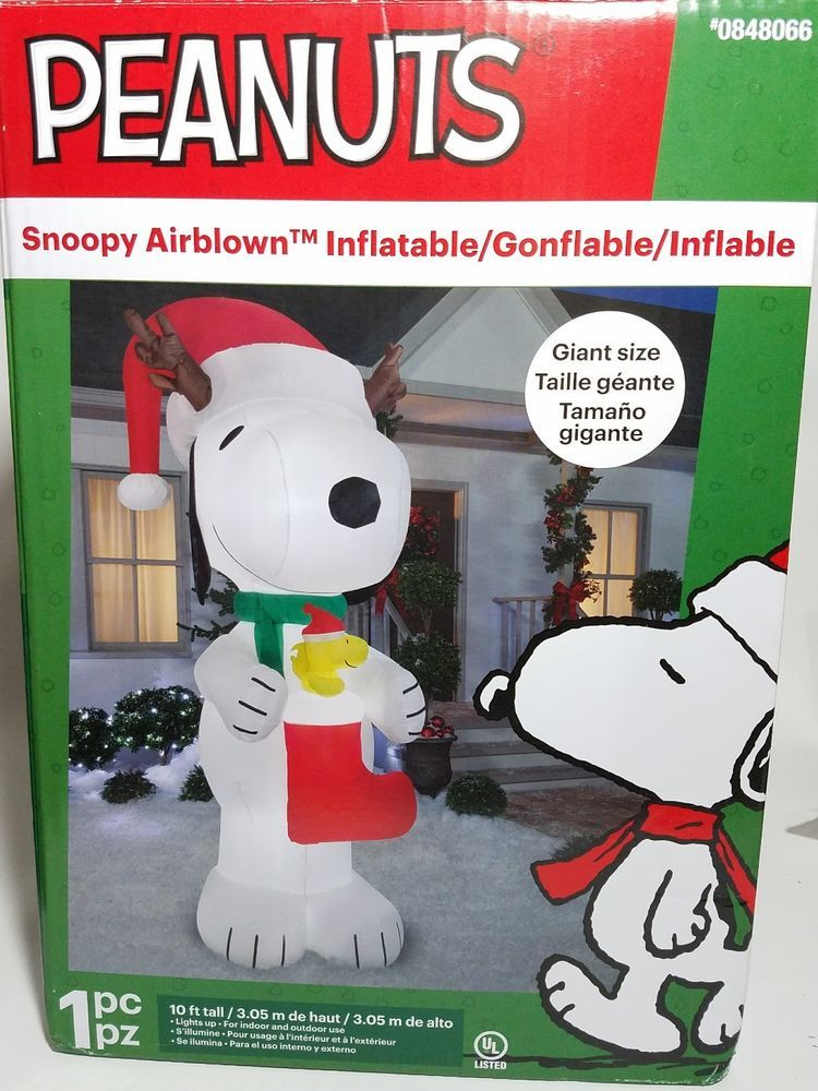 Snoopy And Woodstock Christmas Inflatable.Peanuts Snoopy Santa Woodstock Christmas Gemmy Yard