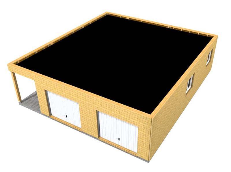 garage en ossature bois 70m² double pente ossature bois