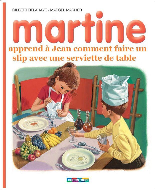 Martine apprend à Jean comment faire un slip avec une serviette de table
