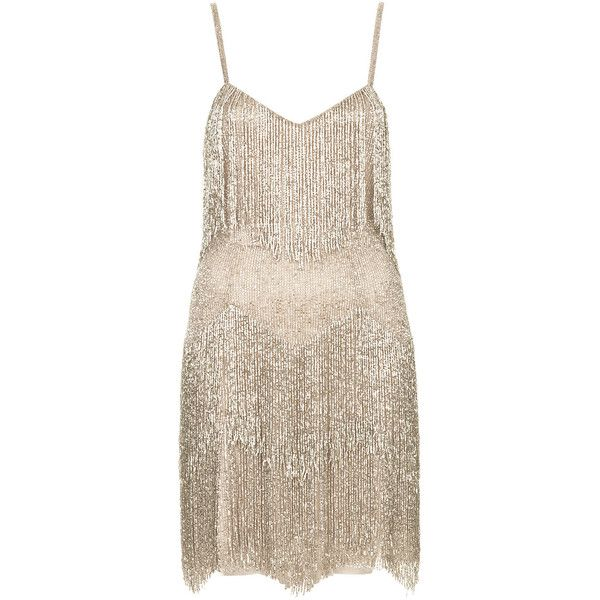 Beaded Fringe Tiered Dress by Kate Moss for Topshop ($150) ❤ liked ...