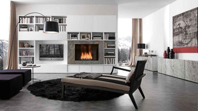Wohnung minimalistisch Wohnzimmer-Bücherregal Türen ...