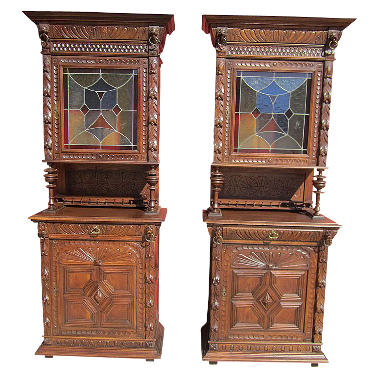 Pair Of French Antique Hutch Cabinets With Stained Glass Doors