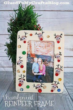 Thumbprint Reindeer Frame - Kid Craft Craft, Footprint crafts and Noel