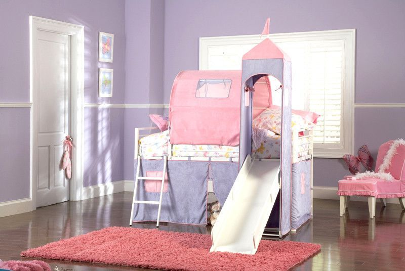 Powell Princess Castle Twin Size Tent Bunk Bed With Slide Fit For A