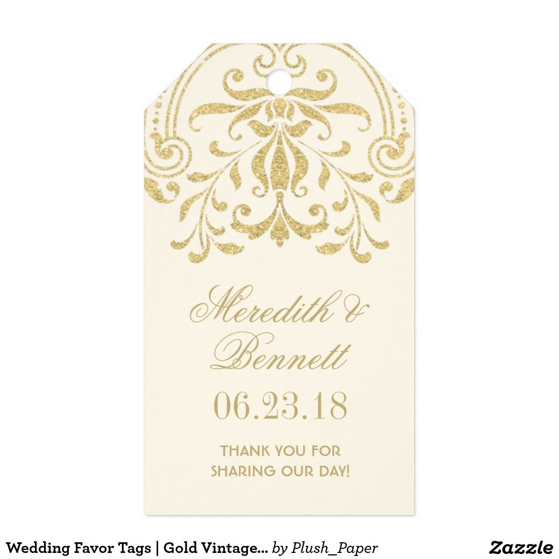 Wedding Favor Tags | Gold Vintage Glamour | Wedding favor tags ...