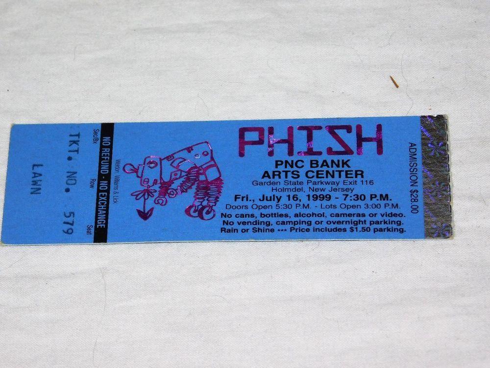 Phish PTBM Ticket Stub 7/16/99 PNC Bank Arts Center NJ Jim