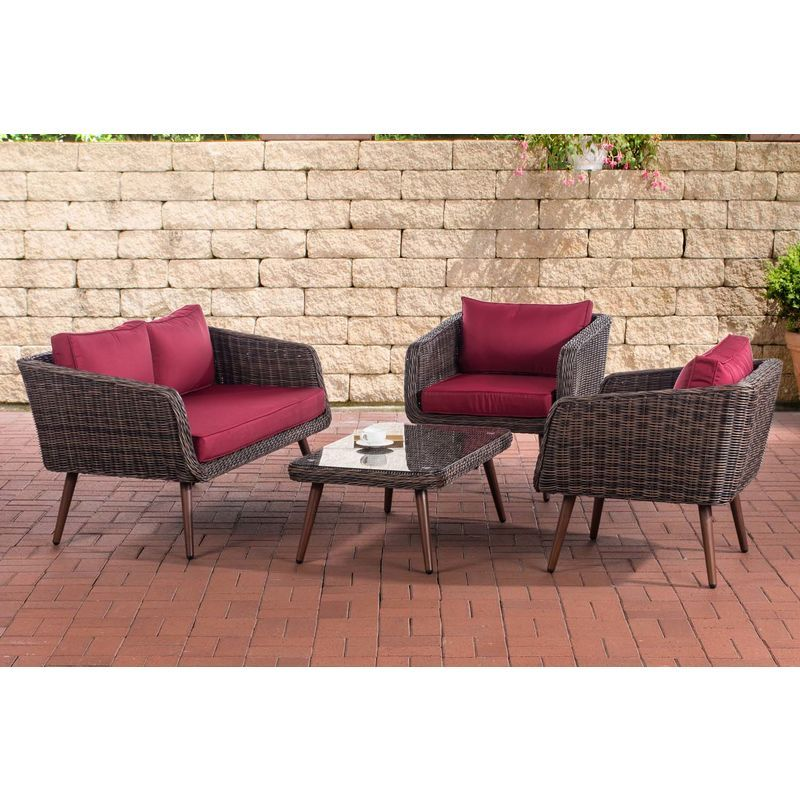 Set de meubles de lounge Trosa 5 mm marron métalisé 45 cm (Dunkelbraun) Rouge rubin – LORAVILLE