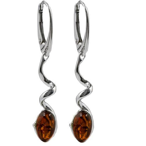 Amber Sterling Silver Small Drop Stud Earrings
