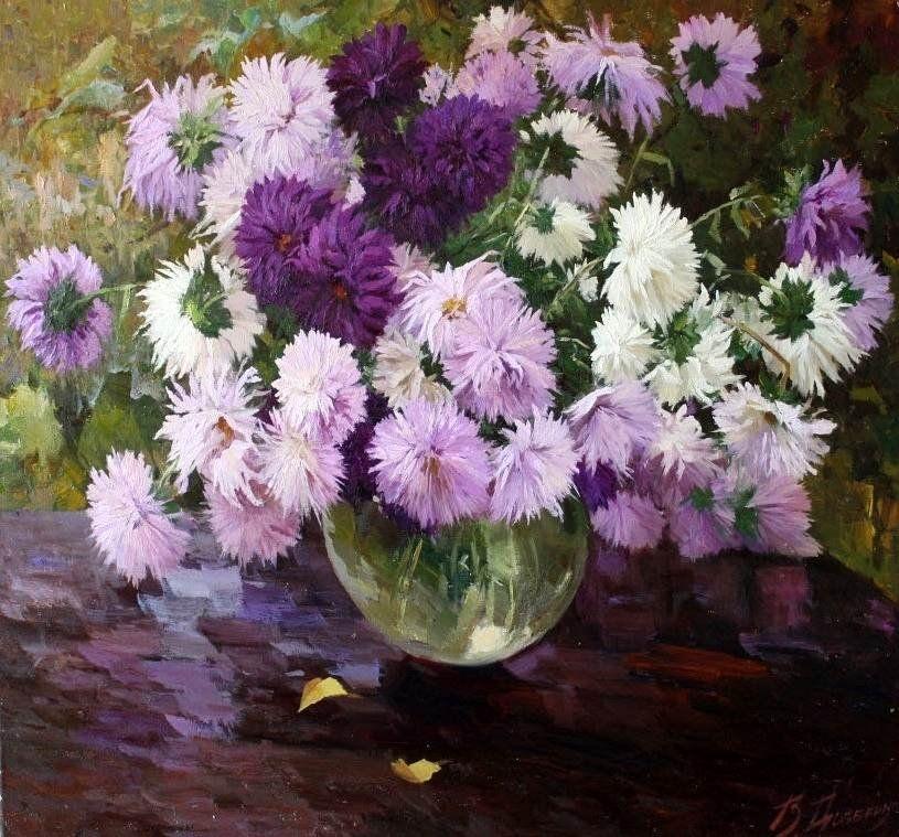 Victor Dovbenko B 1967 Asters 815 759 Floral Art Paintings Flower Painting Floral Painting