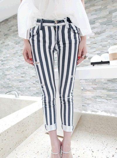 small hole jeans feet pencil pants - http://zzkko.com/note/70655 $18.00