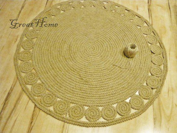 Tappeto naturale, iuta tappeto, tappeto Crochet, tappeto
