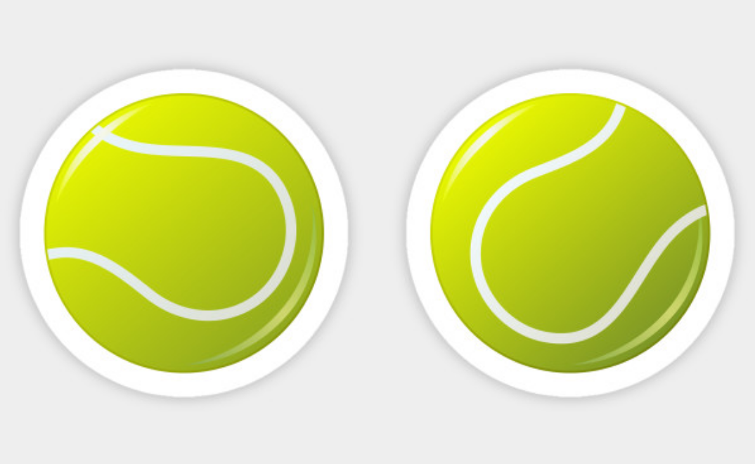 Tennis Ball Stickers Stickers Featuring Two Cartoon Tennis Balls