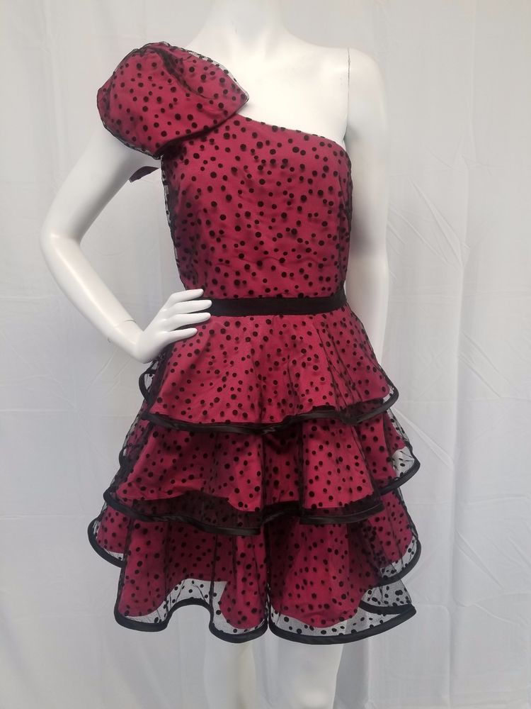 PEARL Georgina Chapman Hot Pink Black Dot 1 Shoulder 80s Style Prom ...