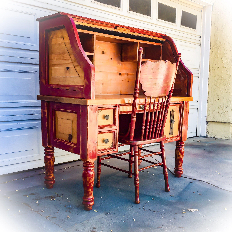 Farmhouse Style Roll Top Desk reclaimed wood desk in