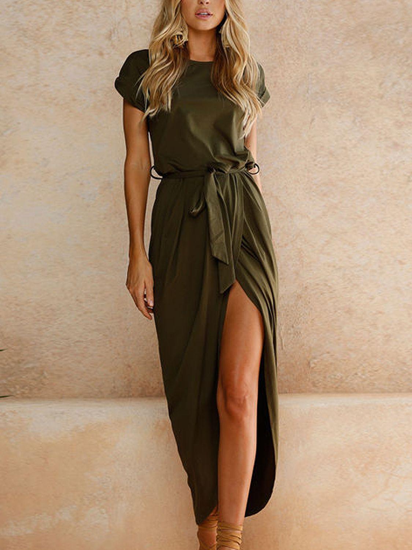 3589cecfea3d9 Shop Army Green Tie Waist Short Sleeve Maxi Wrap Dress from choies ...