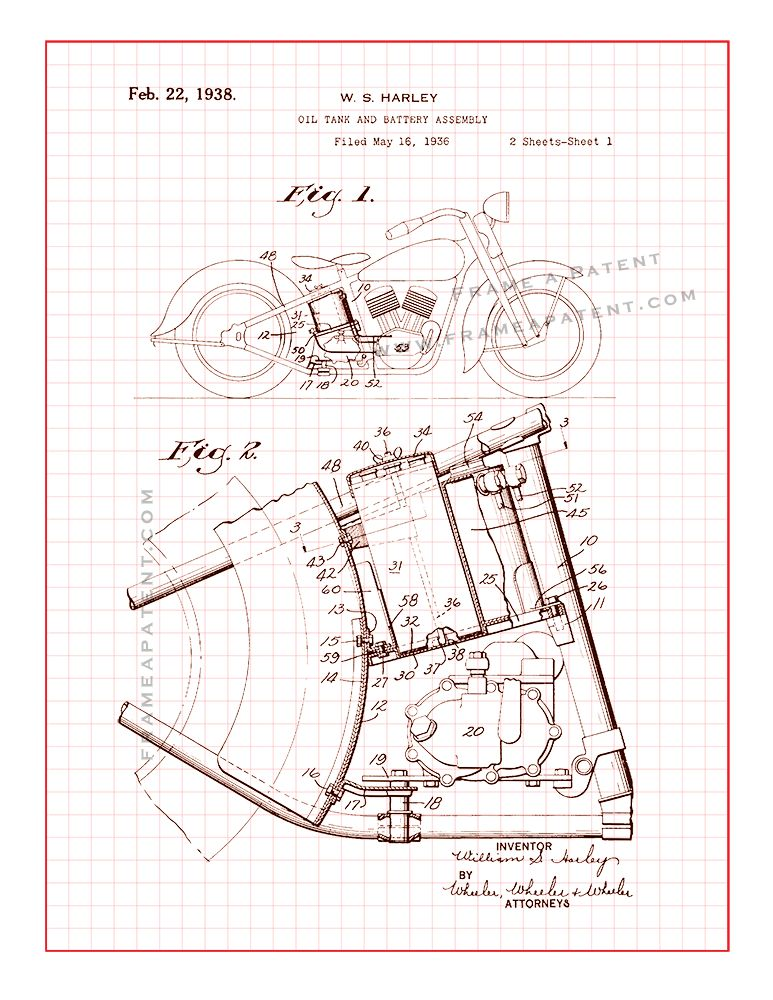 harley motorcycle oil tank and battery assembly patent print - red grid  (5x7) | motorcycle patent prints | motorcycle mechanic, motorcycle art,  motorcycle