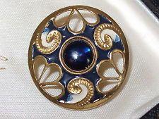 Delightful Vintage Czech? Gilt Metal, Enamel & Glass Button