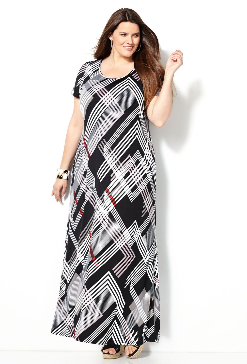 Abstract stripe maxi dressplus size dressavenue sarah slick