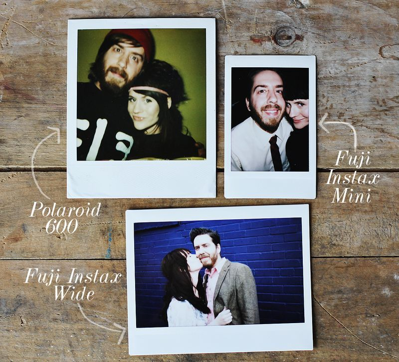 Handy instant photo size comparisons by Elsie of A Beautiful Mess Blog. Featured: Polaroid 600 v. Fuji Instax Mini v. Fuji Instax Wide.