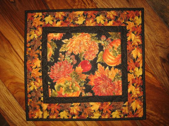 Quilted Table Topper Pumpkin Apples and Mums Fall by TahoeQuilts