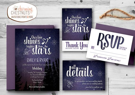 Starry Night Wedding Invitation Set Printable Personalized Our Love