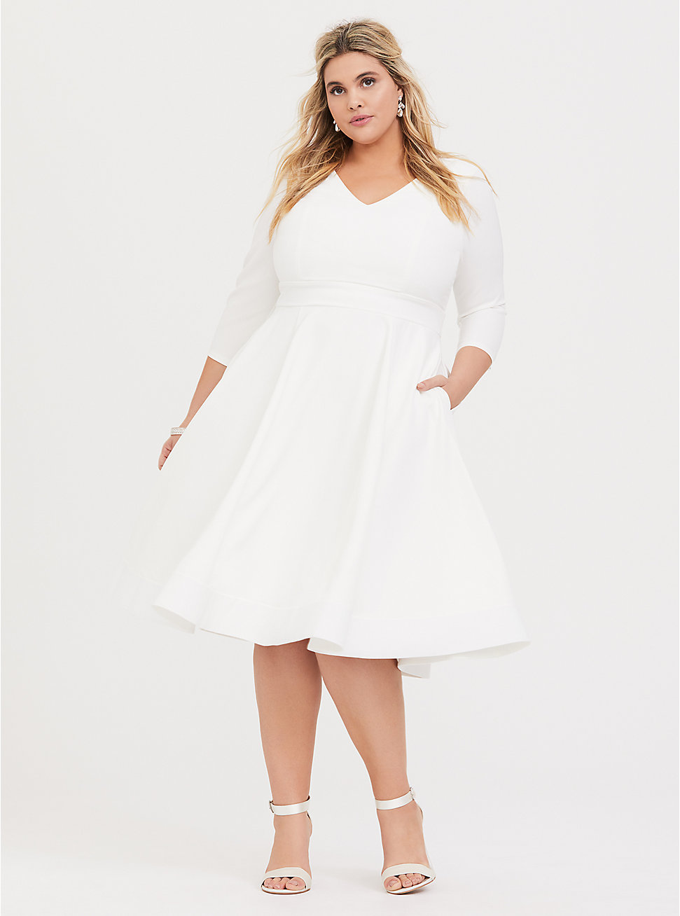 Special Occasion Ivory Fit Flare Dress Flare Dress Dresses White Lace Midi Dress [ 1308 x 971 Pixel ]