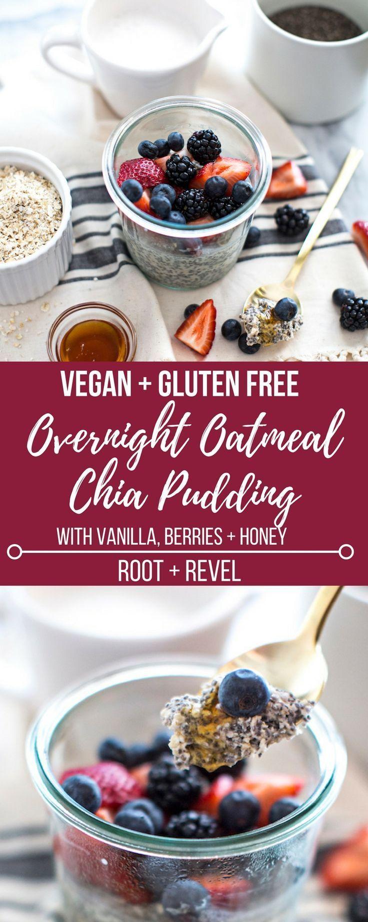 Overnight oatmeal chia pudding with vanilla honey