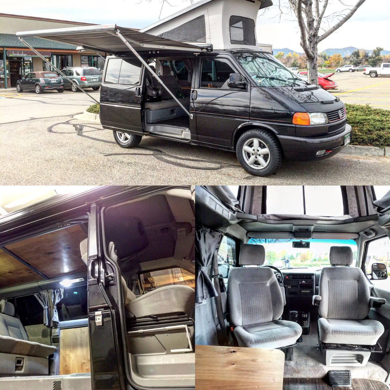 CaveVan GLS To Westfalia Weekender Poptop Conversion VW Eurovan Seat Swivels Alder Wood Interior Fiamma Awning And Lots Of Other Custom Work