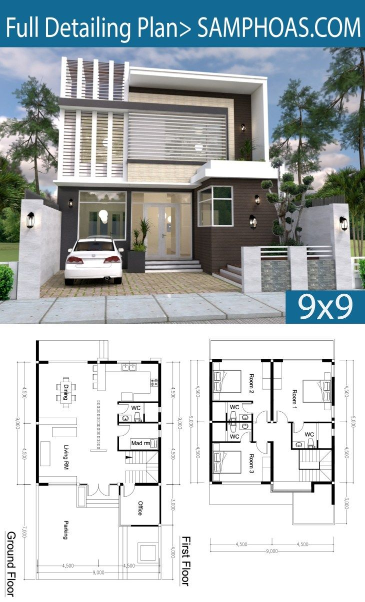 3 Bedroom Modern Home Plan 9x9m Samphoas Com Modern House Plans Model House Plan Modern House Design