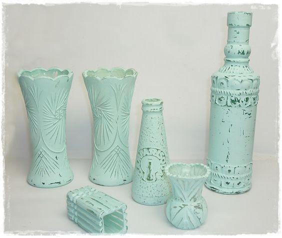 vasen flaschen mit selbstgemachter kreidefarbe bemalen diy alles vonkarin bottles vases. Black Bedroom Furniture Sets. Home Design Ideas